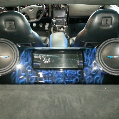 Custom Fiberglass Box in Car