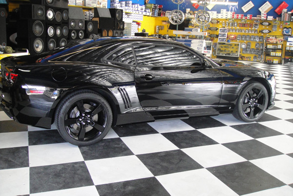 Black Chevy Camaro Side