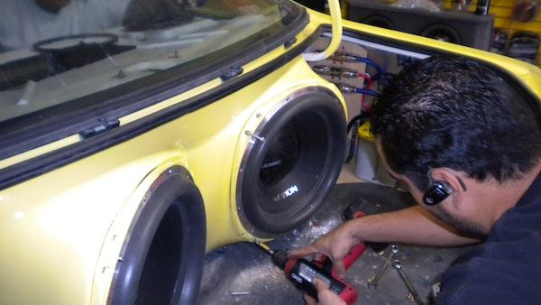 Subwoofer install in progress
