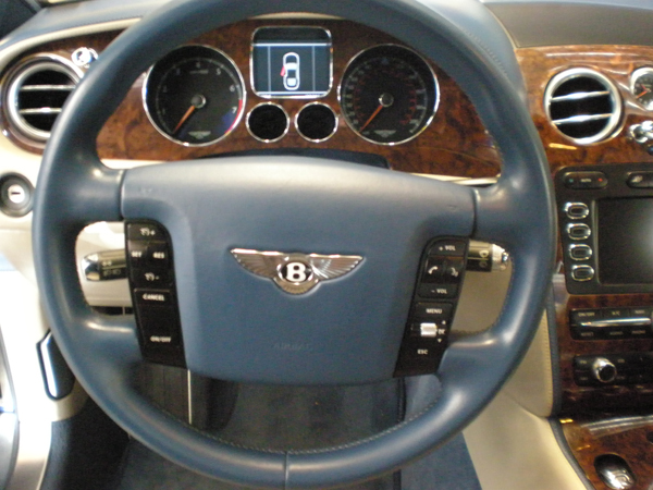 Bentley Continental Blue Steering Wheel