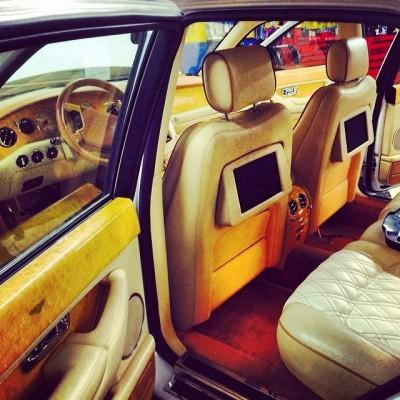 Bentley Continental backsteat passenger video head unit. Custom Car Video System