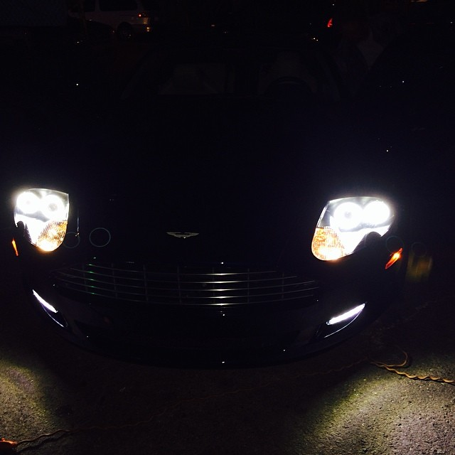 Aston Martin DB9 Custom Angel Headlights | Joe's Car Stereo San Diego
