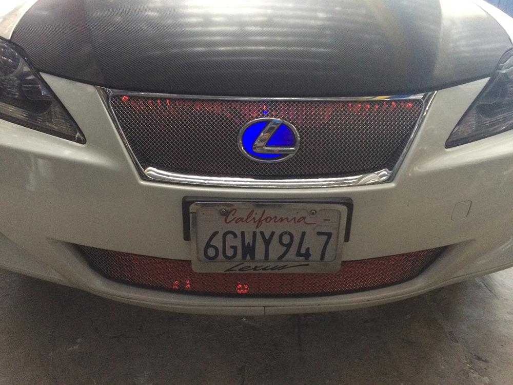 Blue Red Lexus Grille