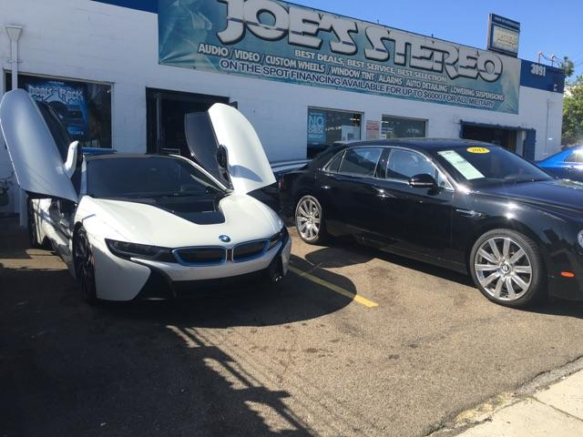 Front view of BMW i8 at Joe's Stereo