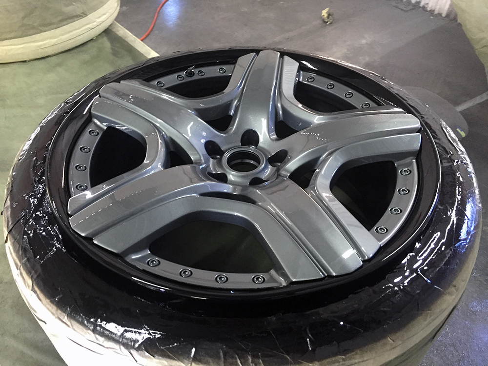 Bentley Flying Spur wheels prior to color matching