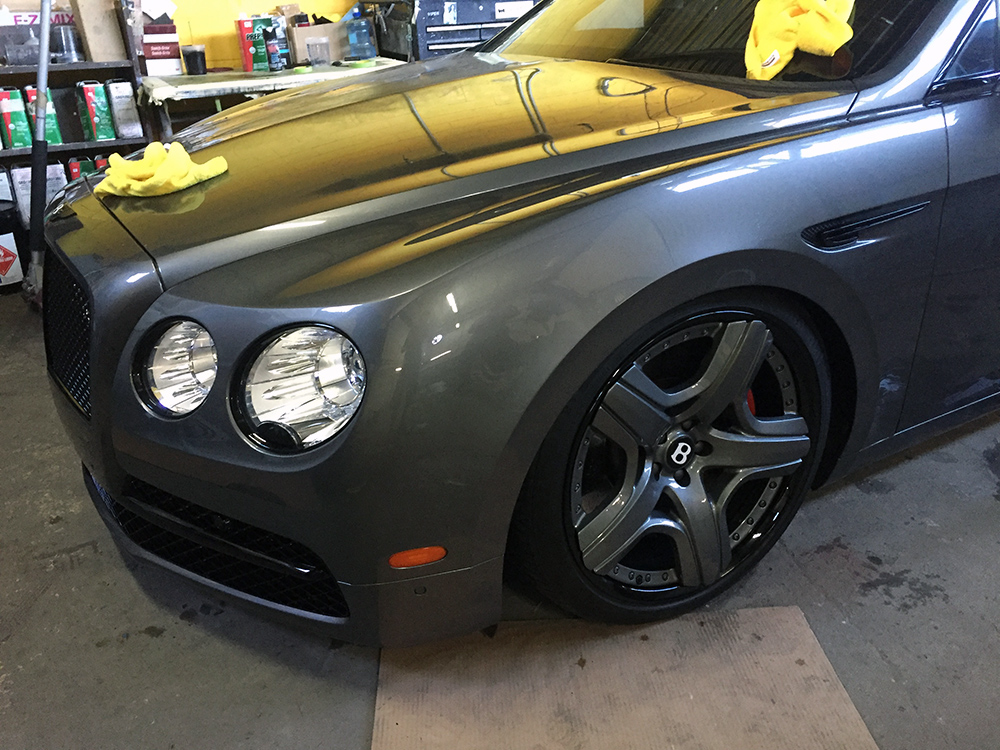 Bentley Flying Spur with custom grey color matched wheels