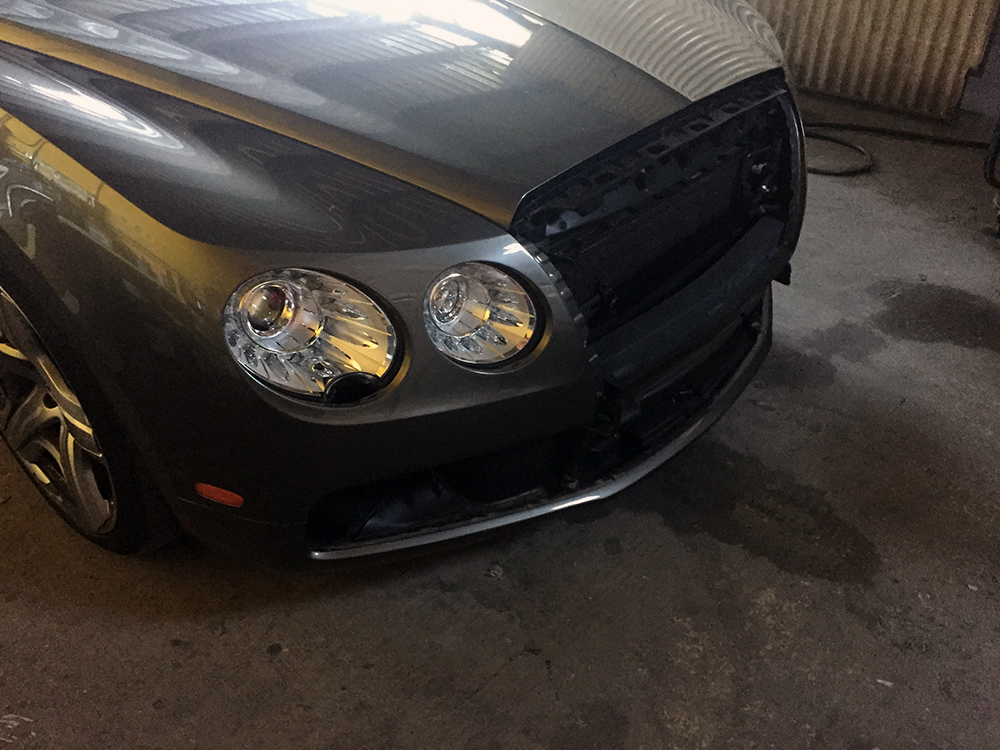 Bentley Flying Spur with grill being customized